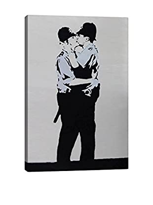 Banksy Kissing Coppers Police Gallery Wrapped Canvas Print