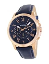 Fossil Grant FS4835 Blue Round Dial Leather Strap Analogue Watch - For Men