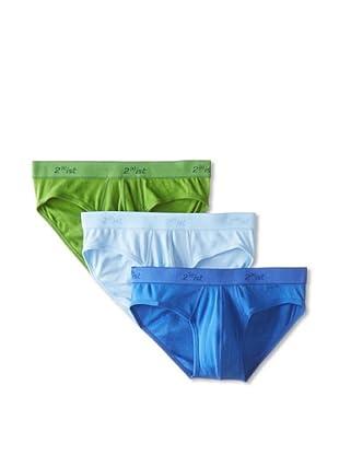 2(x)ist Men's Op Essentials No Show Briefs - 3 Pack (Ultramarine/Powder Blue/Reef Green)