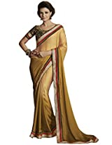 Indian Women Stunning Satin Chiffon Light Gold Saree with Blouse