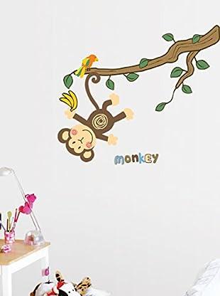 Ambiance Live Wandtattoo Sticker monkey and tree mehrfarbig