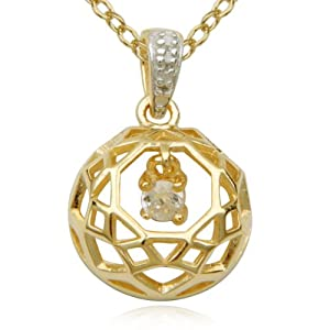 18k Yellow Gold Plated Sterling Silver Cubic Zirconia Openwork Round Drop Pendant Necklace, 18""