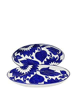 Le Souk Ceramique Jinane Set of 2 Large Oval Platters, Blue/White