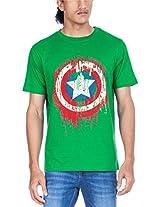 Zovi Cotton Captain America Drip Indian Green Graphic T-shirt (10925603201_Small)