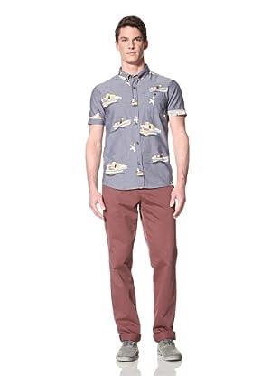 Zanerobe Men's Tug-O-War Short Sleeve Woven Shirt (Navy)