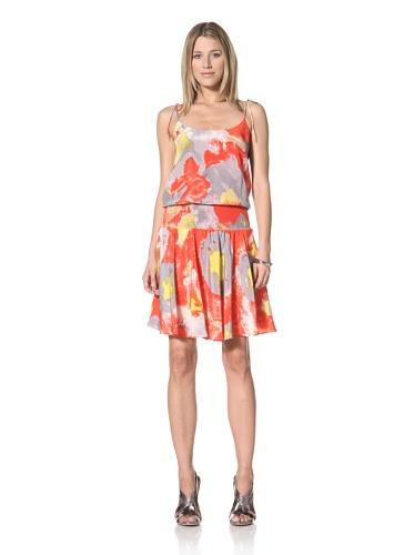 Halston Heritage Women's Smocked Waist Dress (Poppy)