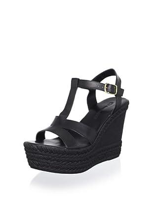 Charles David Women's Vicki Wedge Sandal (Black Leather)