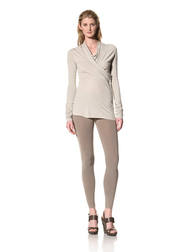 RICK OWENS Women's Cross Drape Cowl Neck Top (Pearl)