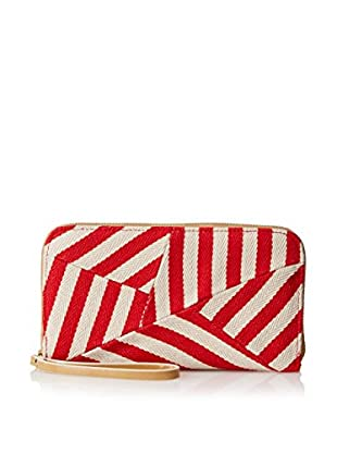 POVERTY FLATS by rian Women's Stripey Wristlet Zip Around Wallet, Red/Natural