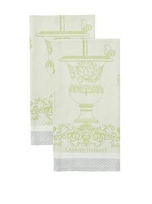 Garnier-Thiebaut Set of 2 Butterfly Garden Kitchen Towels, Vert Opaline