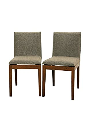 Baxton Studio Set of 2 Square Dining Chairs, Brown