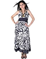 Ivory And Gray Barbie Dress With Printed Flowers - Pure Cotton