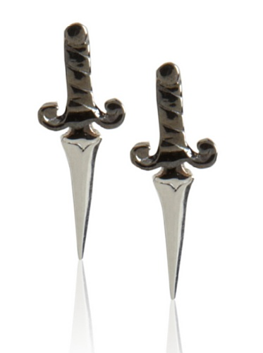 Catherine Angiel Silver with Black Rhodium Dagger Stud Earrings