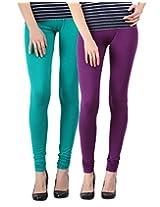 Blackmilan Women's Leggings (ZBMWL-1004-Green-Purple_Multi-Coloured_Small)