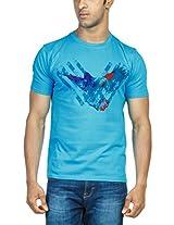 Zovi Cotton Flying Bird Neon Blue Graphic T-shirt 113187049010L