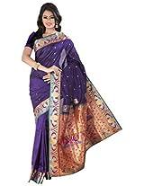 ISHIN Art Silk Blue Kanjivaram Saree