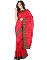 Amaranth Red Dupion Silk Embroidered Party and Festival Saree
