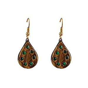 Artistri Tear Drop Earrings In Antique Gold With Green Stones