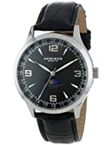 Akribos XXIV Men's AK637SSB Retro Swiss Black Dial Stainless Steel Black Leather Strap Watch