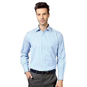 Peter England Blue and White Striped Shirt