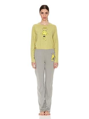 Licencias Pijama Adulto Top Amarillo Rayas Pantalón Gris (Amarillo / Gris)