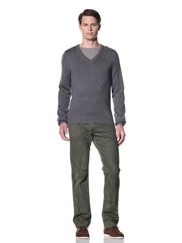 Billy Reid Men's Pointelle V-Neck Pullover (Grey)