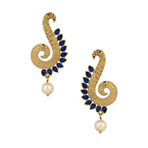 Voylla Gold Plated Curve Dangler Earrings With Blue Stones And Pearl Beads