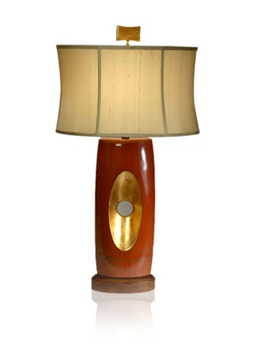 Aqua Vista Golden Eye Table Lamp, Red/Brown