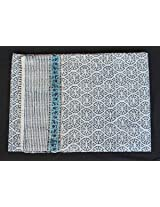 Worldoftextile Hand Block Print Cotton Kantha Bed cover hand made Cotton Quilt 3 Layer hand stitch Double Bed Cover/Quilt