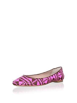 Rebecca Minkoff Women's Uma Woven Ballet Flat (Pink/BrickBrown)