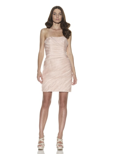 Christian Siriano Women's Pleated Organza Cocktail Dress (Pink)