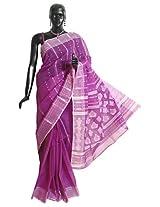 DollsofIndia Magenta Tangail Saree with Woven Anchal - Pure Cotton - Magenta