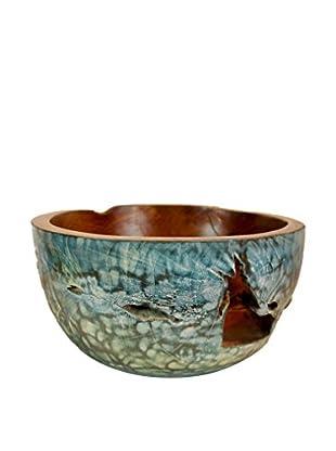 Asian Loft Teak Bowl, Blue