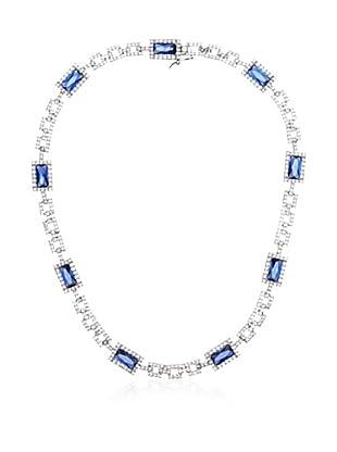 CZ by Kenneth Jay Lane Blue Emerald-Cut Deco Necklace