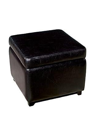 Baxton Studio Leather Square Storage Ottoman, Black
