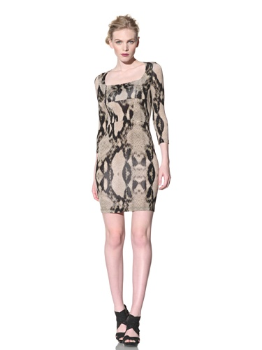 Just Cavalli Women's Reptile Dress (Beige/Green Snake Print)