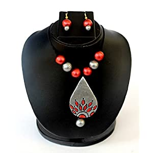 Anikalan Designs Silver Duedrops Pendant Terracotta Necklace Set