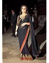 Ethnic Trend Chiffon Party Bollywood Replica Saree - 159 (Black)