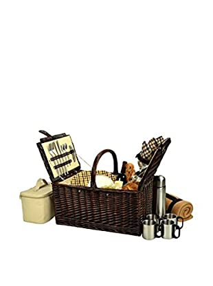 Picnic at Ascot Buckingham Basket For 4 with Blanket & Coffee, Trellis Blue