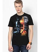 Printed Black Round Neck T-Shirt