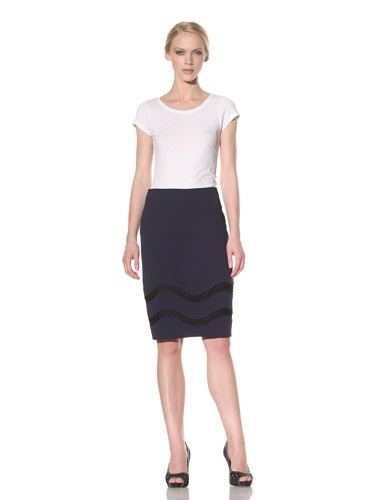 Rachel Roy Women's Lace Inset Skirt (Deep Sea Blue)