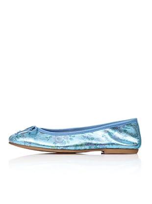 Bisue Bailarinas Brillo Flores (Azul)