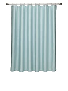 Terrisol Matelassé Ottoman Ribbed Shower Curtain (Aqua)