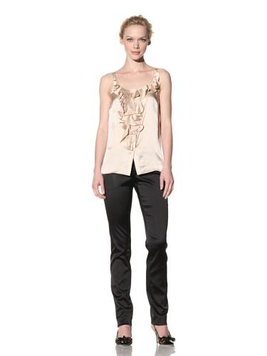 Philosophy di Alberta Ferretti Women's Ruffle Front Sleeveless Top (Light Tan)