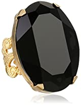 "Liz Palacios ""Lunas"" Large Oval Jet Crystal Adjustable Ring"