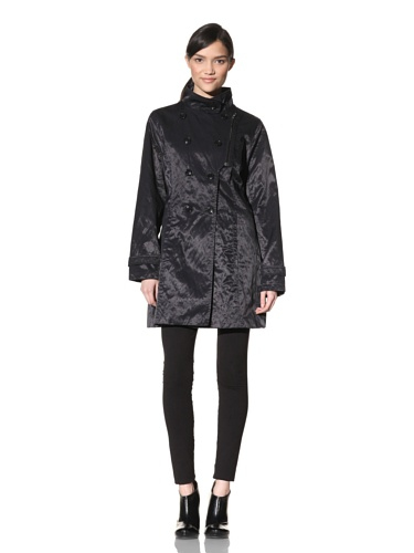 Rainforest Women's Double Breasted Trench Coat (Black)