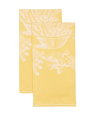 Mierco Fine Linens Set of 2 Pasta Jacquard Tea Towels, Yellow, 23