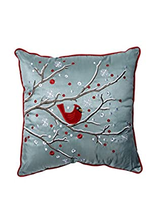 Pillow Perfect Holiday Cardinal on a Snowy Branch Throw Pillow