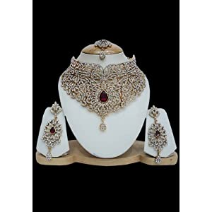 Maroon and White Stone Studded Bridal Necklace Set