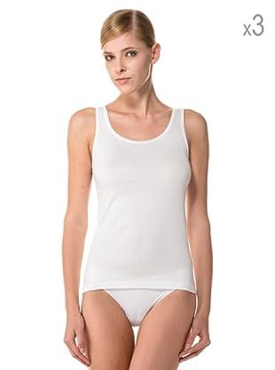 Anyma by Cotonella Pack 3 Camisetas Tirantes Transpirable Perfil Satinado (Blanco)